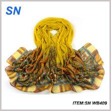 China bufanda fábrica de algodón Voile flor bufanda