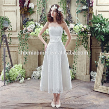 Bretelles spaghetti lourde perlée sexy courte avant longue robe de mariée arrière avec petite queue