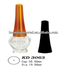 Esvaziar vidro garrafa de unha polonês com tampa e escova