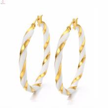 Dubai White Gold Round Big Boucles d'oreilles Créateur de bijoux