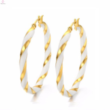 Dubai White Gold Round Big Earrings Jewelry Designer