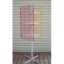 Prateleira de exposição giratória independente para acessórios de telefone, suporte de tela de metal suspenso de 2 vias girando