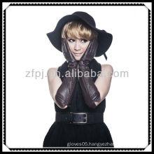fashion styel long sleeve lady's leather glove