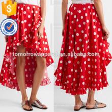 Lindo asimétrico con volantes de lunares rojo y blanco de algodón maxi verano falda de fabricación al por mayor de moda mujeres ropa (TA0029S)