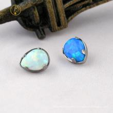 Custom Titanium Prong Set Titanium Tear Drop Opal17/ Opal05 Labret Top Piercing Jewelry
