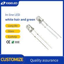 In-line LED 3MM white hair green short feet