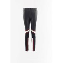 PU combinado malha legging calças de tecido