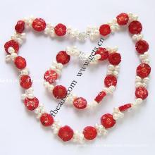 Gets.com 2015 conjunto de collar de joyas de coral rojo