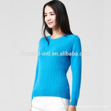 suéter de lana de cachemir de lana con cuello en V de manga larga de punto bajo