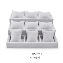 3 Tiers Grey Velvet Pillows Watch Display Tray Wholesale (TY-12WB-GV3L2)