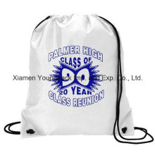 Custom White Waterproof 210d Polyester Nylon Gym Sack Drawstring Bag