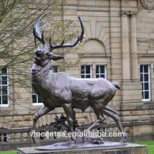 Meilleure vente bronze jardin cerf sculpture grandeur nature bronze cerf