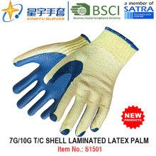 7g / 10g T / C shell laminado de látex luva de trabalho de segurança de palma (S1501) com CE, En388, En420 para uso Construção luvas