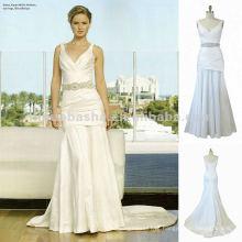 NY-1562 Uma colar de pescoço em V ajustou o vestido de noiva do espartilho