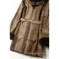 Ropa de cuero y piel de cordero de moda Estilo largo de mujer con capucha