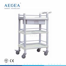 AG-UTA07 3-Schicht-ABS-Kunststoff-Dienstprogramm medizinische Wagen mit Schublade zum Verkauf