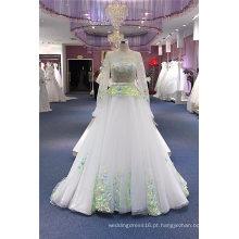 Vestido de casamento nupcial do baile de finalistas do marfim do bordado
