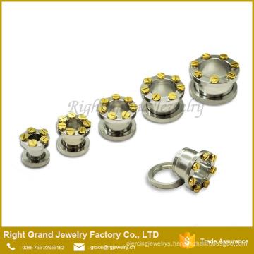 Surgical steel Titanium Gold Plated Screw Ear Flesh Tunnel Plug Gauges