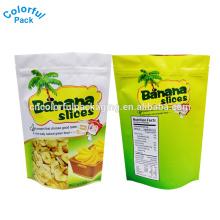 Matte aufstehen Reißverschluss Aluminiumfolie Taschen Lebensmittelqualität Beutel Bananenscheiben Verpackung Tasche