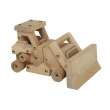 Alta qualidade DIY montando brinquedo de madeira bulldozer para meninos
