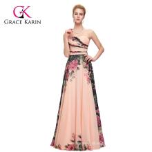 Grace Karin Nueva Moda damas gasa Backless impresión floral larga de tamaño grande vestido de noche vestido de mujer CL7503