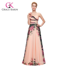 Grace Karin New Fashion Ladies Chiffon Backless Long Floral Printing big size women dress evening dress CL7503