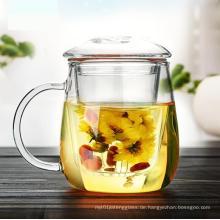 Handgefertigte Hitze Respekt Glas Teetasse mit Infusion und Deckel