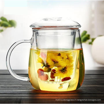 Tasse à thé en verre à la chaleur résistante à la chaleur avec infusion et couvercle