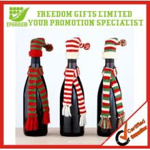 Chapéu de Natal malha inteira garrafa chapéu e lenço definido