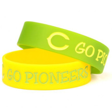 1 Inch Debossed Filled Color Rubber Wristbands
