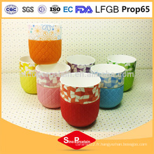 12OZ. Impression en carton Cylindrique Nouvelle tasse en os de Chine avec manchon en silicone pour BS131122B