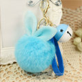 Cute Big Rabbit Fur Ball Keychains Rabbit Fur Pom Poms Keyrings
