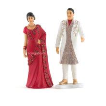Traditionelle indische Braut und Bräutigam Hochzeit Figurine Kuchen Topper