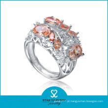 Micro pavimenta o anel de prata italiano de 925 com cristal