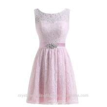 Venta al por mayor corta dama de honor baratos vestidos 2016 vestido de noche de encaje con Crystal Sash mujeres Prom vestidos LBB04
