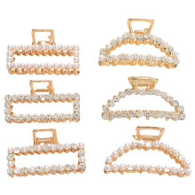 Pearl Geometric Hair Claws for Women Girl Simple Hairpin Fashion Accessories Alloy Plated Rhinestone Large Korean Belle Femme