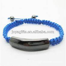 New design Magnetic hematite blue woven bracelet