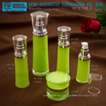 Crystal clear high quality double layers high end cosmetic packaging round waist acrylic cream jar and lotion bottle