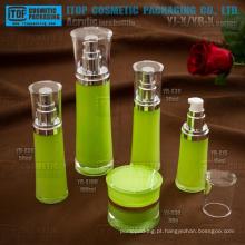 Embalagens de cosméticos cristalinas de alta qualidade das camadas dobro high-end redondo acrílico frasco de creme da cintura e frasco da loção