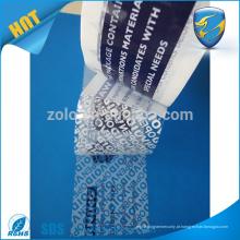 Qualidade superior customizada 50m flexível falsificação de fita de segurança fita de marcação fita adesiva tamper