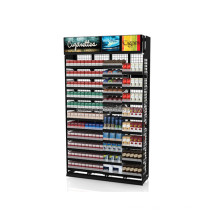 Simple Freestanding Retail Store Tobacco Promotional Large Metal Cigarette Shelving Display