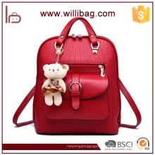 Китай поставщики Оптовая тенденция рюкзак мешок PU женщин с игрушкой