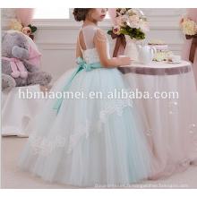 Fête de couleur vert clair et vêtements de mariage robe occidentale belle décoration lacée nouvelle fille modèle robe