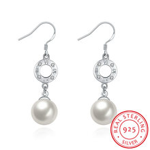 925 Sterling Silver Round Shape Shell with Zircon Eardrop Fashion Earring