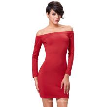 Kate Kasin de color sólido de manga larga de color rojo de hombro vestido de corte delgado KK000224-2