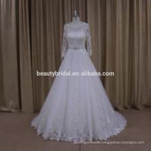 Fashion elegant appliqued beaded muslim wedding dress