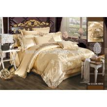 Royal Luxo jacquard bordados jogo de cama e conjunto de folhas de cama 6 peças