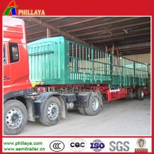 Camion de semi-remorque de 3 axes de clôture de bétail