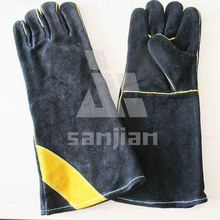 Black Double Plam Leather Welding Safety Glove with CE Work Glove