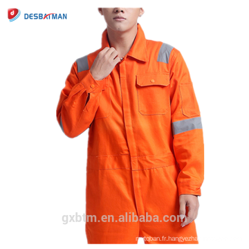 Customized logo and style 65% polyester 35% cotton twill fabric material reflective safety overalls